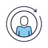 avatar silhouette aith arrow around line and fill style vector illustration